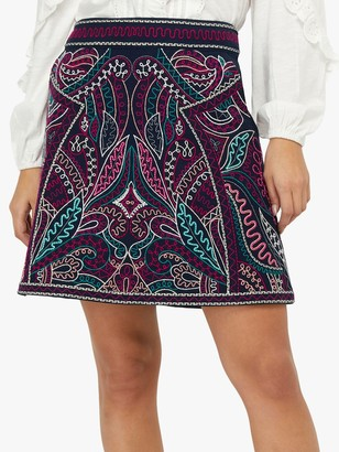 Monsoon Emmy Embroidered Mini Skirt, Navy