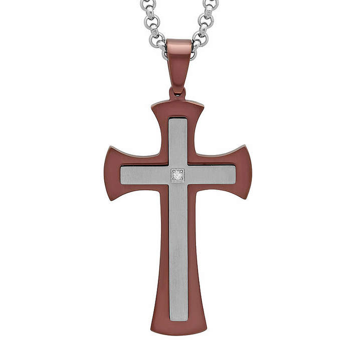 JCPenney FINE JEWELRY Mens Diamond-Accent Brown Ion-Plated Stainless Steel Stacked Cross Pendant Necklace