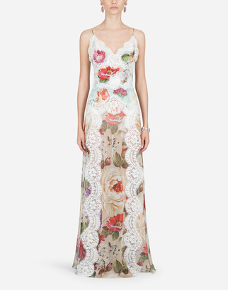Dolce & Gabbana Chiffon Slip Dress With Mixed Floral Print And Lace Details