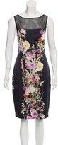 Badgley Mischka Printed Silk Dress