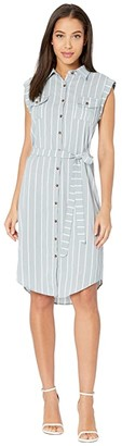 Bishop + Young Striped Button-Front Dress (Mist) Women's Dress