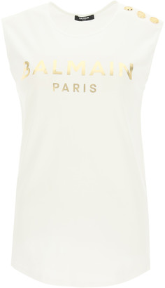 Balmain SLEEVELESS T-SHIRT WITH GOLDEN LOGO L White, Gold Cotton