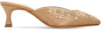 Zyne 50mm Embellished Satin Mules