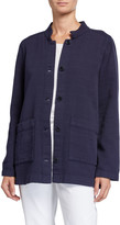 Eileen Fisher Organic Cotton Channel Jacket w/ Mandarin Collar