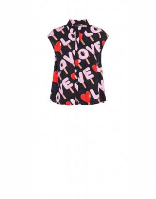 Love Moschino Shirt Top Ice Cream Woman Black Size 42