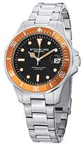 Stuhrling Original Regatta Aquadiver 664 Men's Quartz Watch with Orange Dial Analogue Display and Silver Stainless Steel Bracelet 664.04
