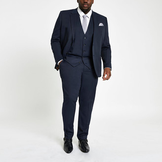 River Island Big and Tall navy suit waistcoat