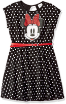 Freeze Minnie Mouse Black & White Polka Dot Belted Dress - Girls