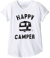Original Retro Brand The Kids Happy Camper Short Sleeve Rolled Sleeve Tee (Big Kids) (White) Girl's Clothing