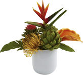 Asstd National Brand Nearly Natural Tropical Floral Arrangement With White Glass Vase