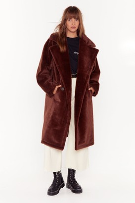Nasty Gal Womens Back Fur Good Oversized Faux Fur Coat - Brown - 14