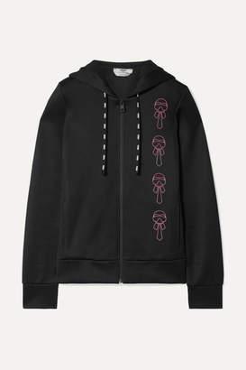 Fendi Karlito Embellished Scuba Hooded Top - Black