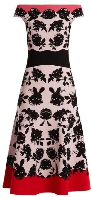 Alexander McQueen Rose Intarsia Off The Shoulder Knit Dress - Womens - Pink Multi