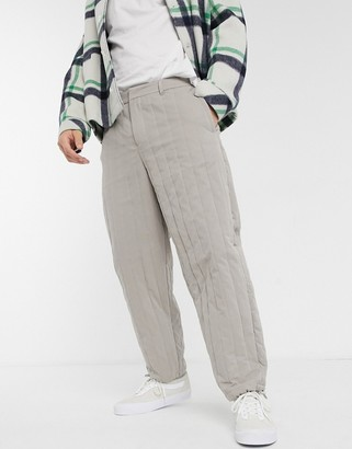 ASOS tapered quilted pants in grey