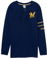 PINK Milwaukee Brewers Bling Lace-up Varsity Crew