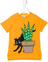 Fendi cat print T-shirt - kids - Cotton - 2 yrs