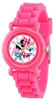 Disney Girls' Minnie Mouse Pink Plastic Time Teacher Watch - Pink
