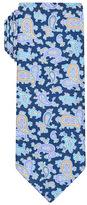 Navy Blue Paisley Handprinted Satin Silk Tie
