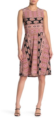 BCBGMAXAZRIA Sleeveless A-Line Print Dress