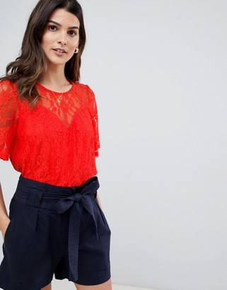 Vila Lace Smock Top-Orange