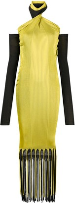 Bottega Veneta Halterneck Ribbed Fringed Dress
