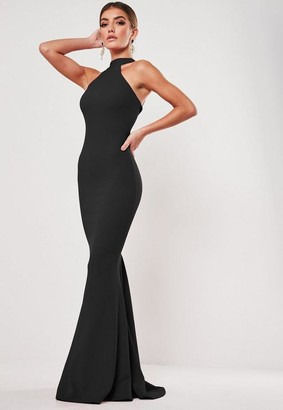 Missguided Black High Neck Maxi Dress