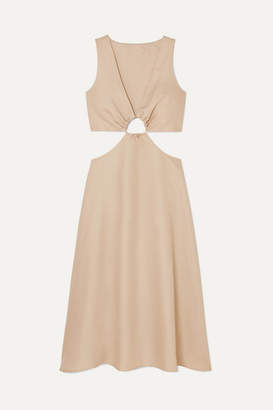 Cult Gaia Cybele Cutout Cotton And Linen-blend Dress - Beige