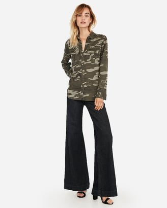 Express Camo Oversized Pocket Military Boyfriend Shirt