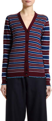 Marni Striped Wool Button-Front Cardigan