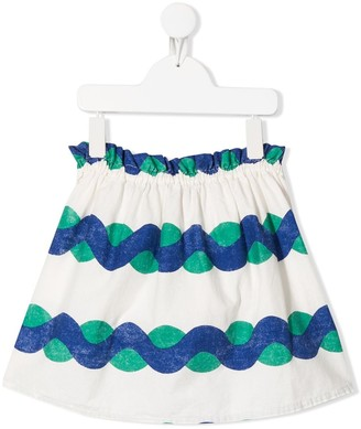Bobo Choses Flared Wave-Print Skirt