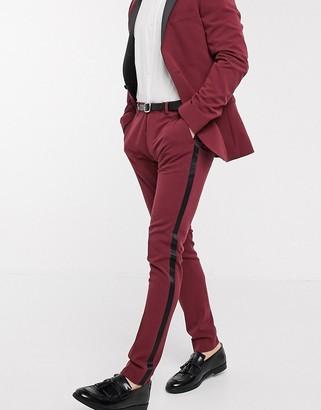 ASOS DESIGN super skinny tuxedo suit trousers in burgundy