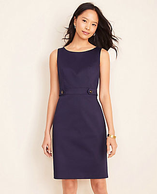 Ann Taylor The Petite Button Tab Sheath Dress in Cotton Sateen