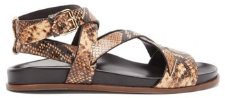 Emme Parsons Bodhi Python-print Leather Crossover Sandals - Brown Multi