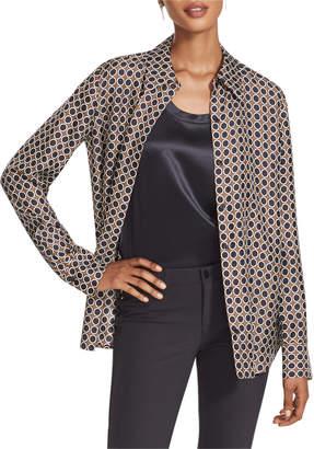 Lafayette 148 New York Julianne Distinct Dot Long-Sleeve Silk Blouse