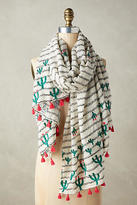 Anthropologie Embroidered Cacti Scarf