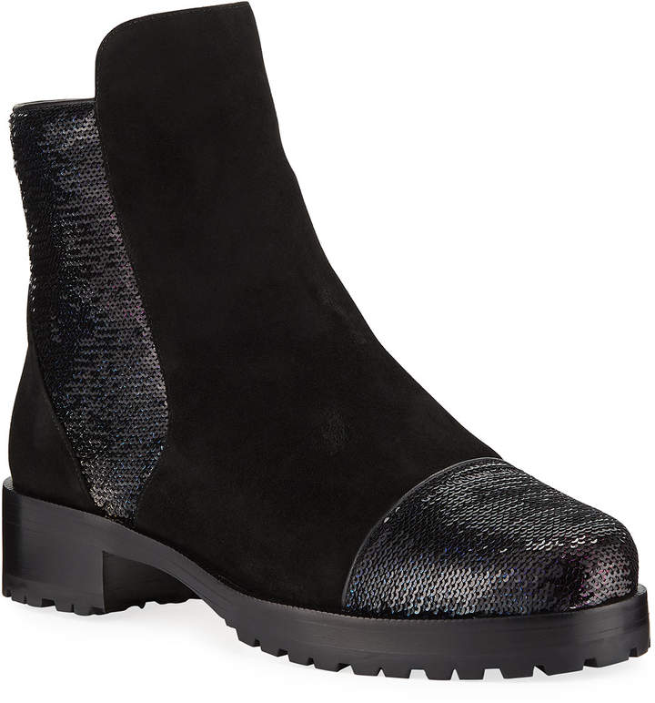 Alexandre Birman Sequined Suede Shearling-Lined Booties