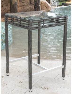 Panama Jack Graphite Glass Bar Table Outdoor