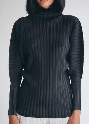 Pleats Please Issey Miyake Women's Mock Neck Top in Black, Size 3