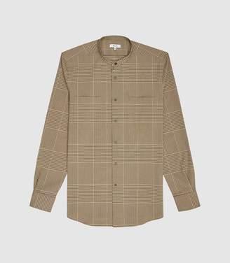 Reiss Durrant - Checked Grandad Collar Shirt in Brown