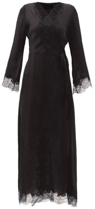 Carine Gilson Skyfall Lace-trimmed Silk-satin Robe - Black