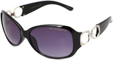 Big Buddha Black Chain-Link Accent Oval Sunglasses