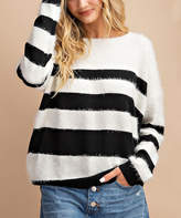 Avenue Hill Women's Pullover Sweaters BLACK - Black & White Stripe Eyelash Cutout-Back Sweater - Women