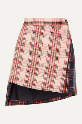 Vivienne Westwood Case Asymmetric Checked Cotton-twill Wrap Mini Skirt - Beige