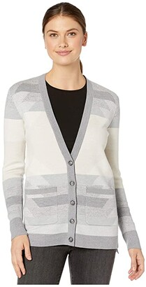 Pendleton Geo Merino Cardigan (Light Grey Multi) Women's Clothing