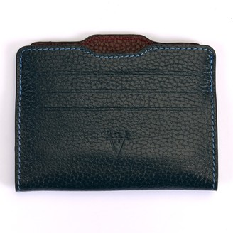 Atelier Hiva Double Card Holder Petrol Blue & Burgundy