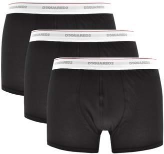 DSQUARED2 Underwear 3 Pack Trunks Black