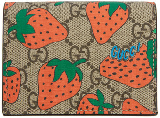 Gucci Brown and Red GG Strawberry Print Wallet