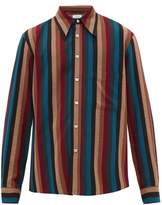 Lemaire - Exaggerated Collar Striped Twill Shirt - Mens - Multi