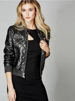 GUESS Jenna Leather Bomber Jacket