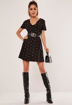 Missguided Black Polka Dot Button Front Shift Dress
